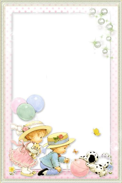 Kids Transparent PNG Photo Frame with Cute Girl and Boy.