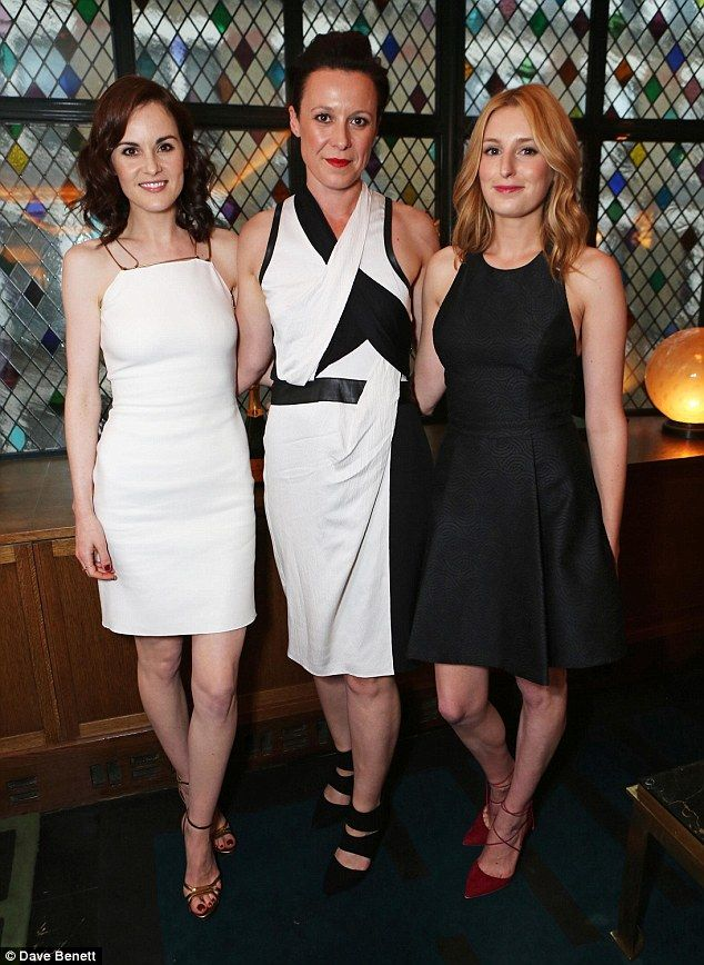 Three's a crowd:Michelle, Raquel Cassidy and Laura showed off their matching monochrome l...