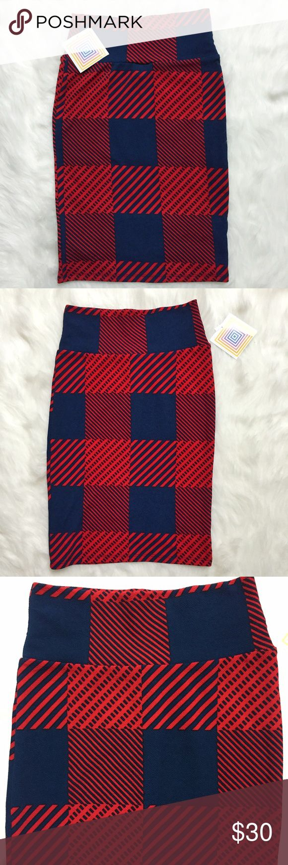 LuLaRoe Cassie Red & Blue Checkered Plaid Skirt Brand new with tags, women's size XS. This LuLaRoe Cassie Red & Blue Checkered Plaid Skirt is so cute! Love the alternating red and blue plaid pattern! So soft and comfortable. Made of 96% Polyester and 4% Spandex. LuLaRoe Skirts