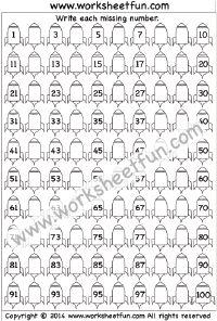Missing Numbers – 1-100 – One Worksheet