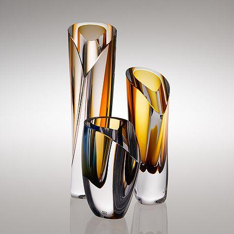 GÖRAN WÄRFF, Three glass sculptures for Kosta Boda, signed.
