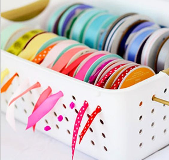 Simple basket with holes and wooden sticks to hold the spools of ribbon....