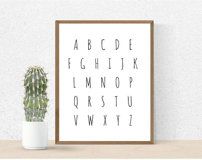 Modern ABCs Nursery Printable! Super cute for a kid's room or nursery! #nurserydecor #scandinaviandecor #modernprint #abcs