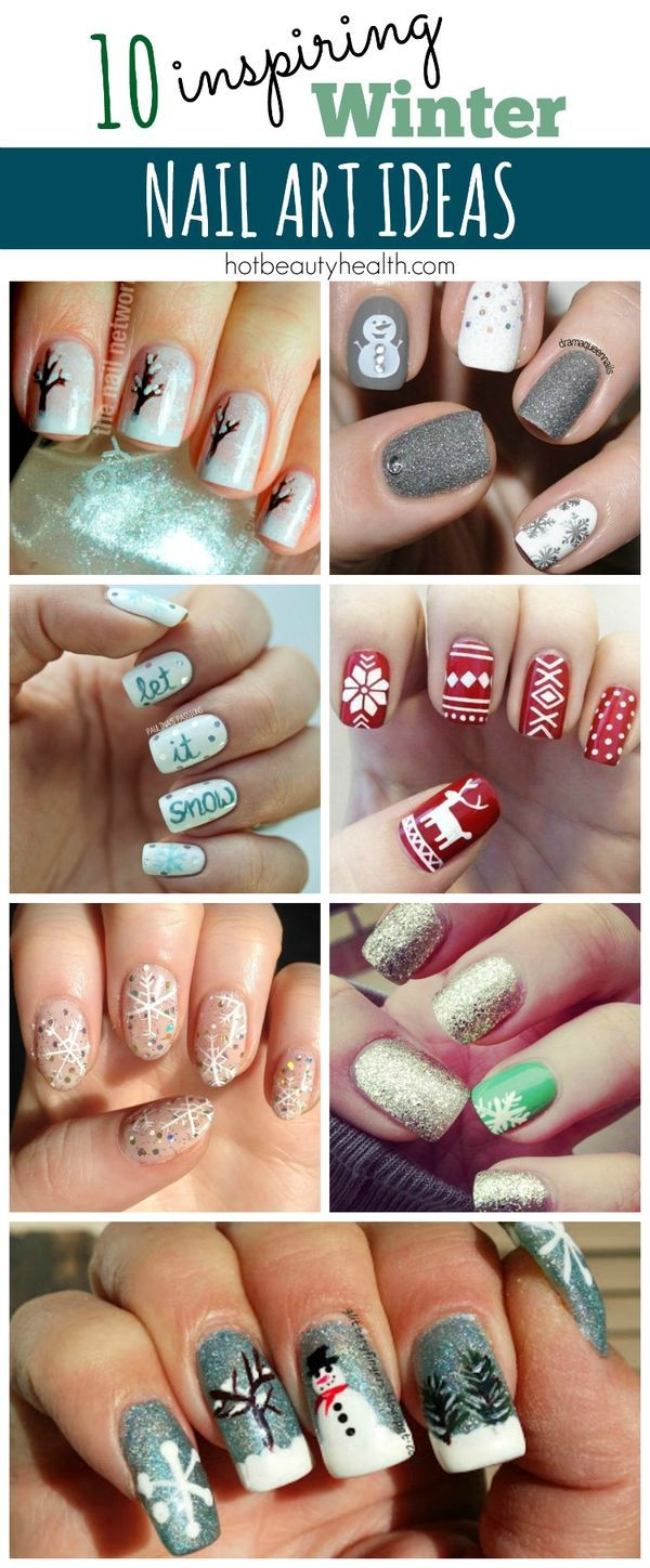 Check out this super cool collection of winter nail art inspiration to rock at your next holiday party! 10 diy nail designs inspired by winter and the christmas season!