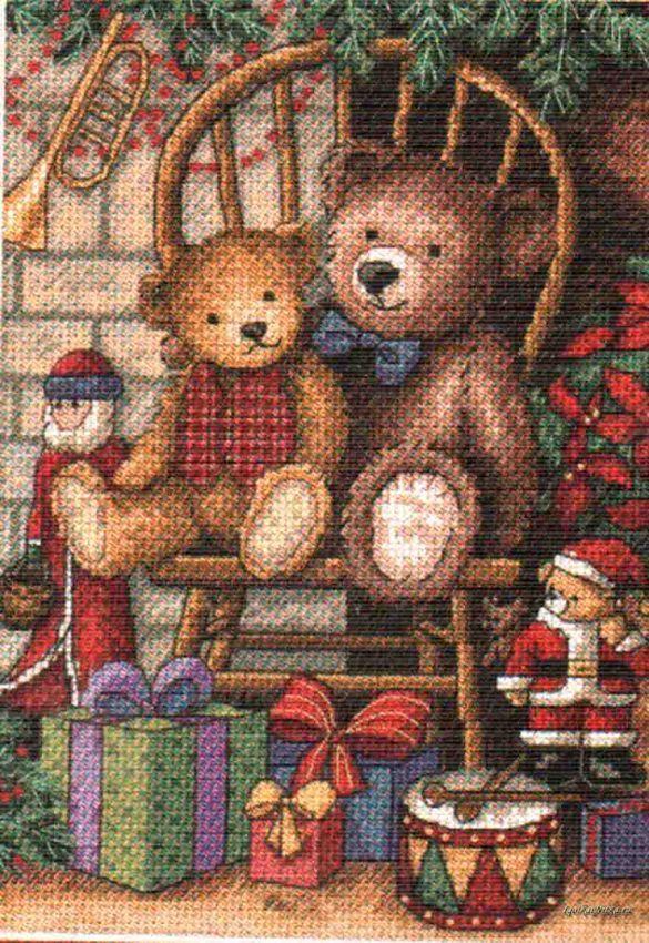 Набор для вышивания Dimensions 8721 Christmas Teddies Рождество Тедди