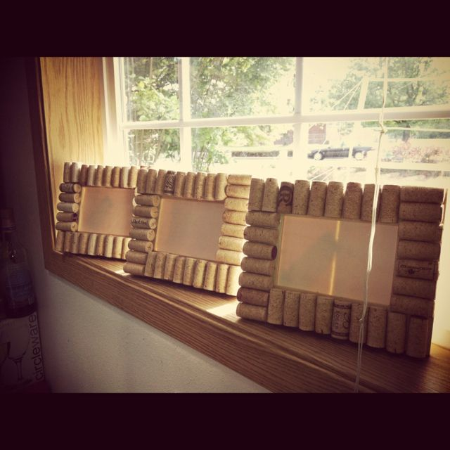 We put the corks in the center of a pretty frame and are using them as small cork boards.  Very cute.