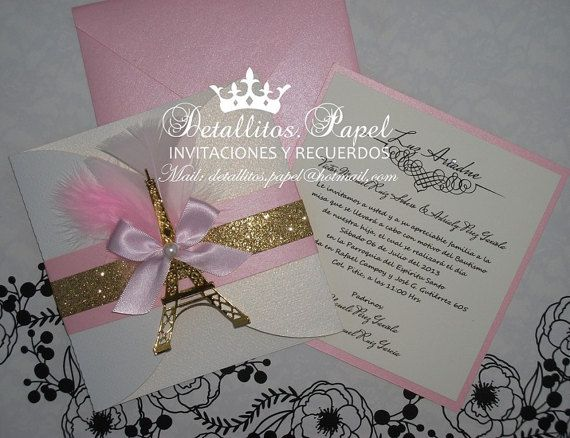 Paris Invitation Quinceanera Invitation by Detallitospapel on Etsy