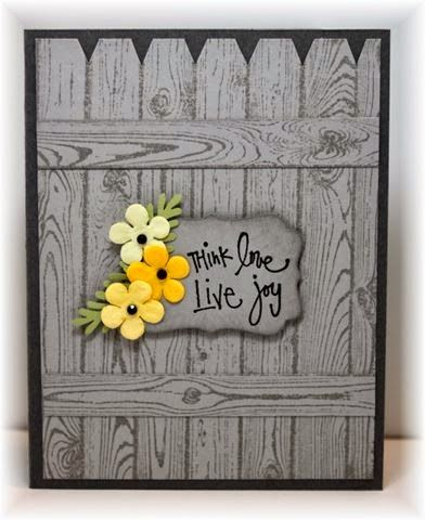 handmade card from Scrappin' and Stampin' in GJ ... woodgrain stamped background fence ... in grays ... luv how the yellow flowers show up on the sentiment label ... like it!!
