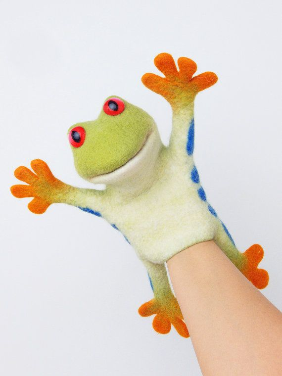 the speaking tree frog hand puppet, wet felted, animal hand puppet.