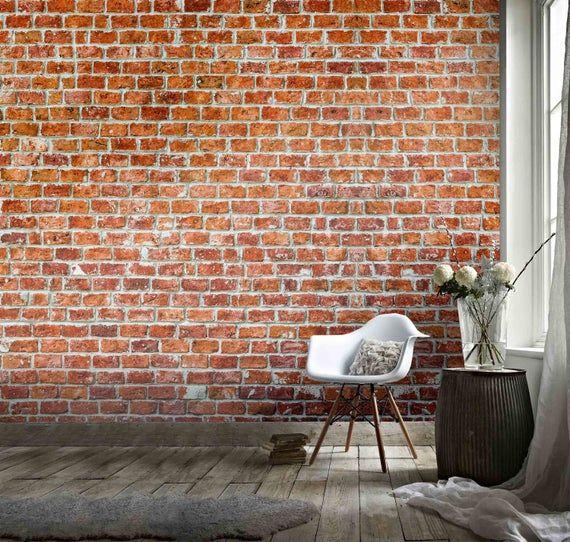 3d Retro Red Brick Ball Effect Wallpaper Mural Peel And Stick Etsy Red Brick Walls Red Brick Wallpaper Brick Wall Background