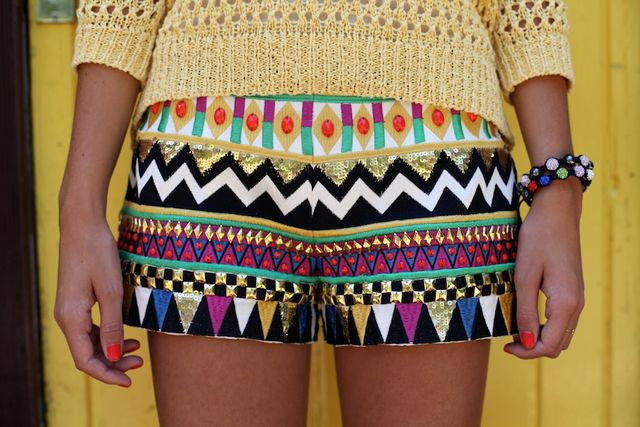 : Fashion, Style, Pattern, Dream Closet, Clothes, Color, Tribal Shorts, Summer