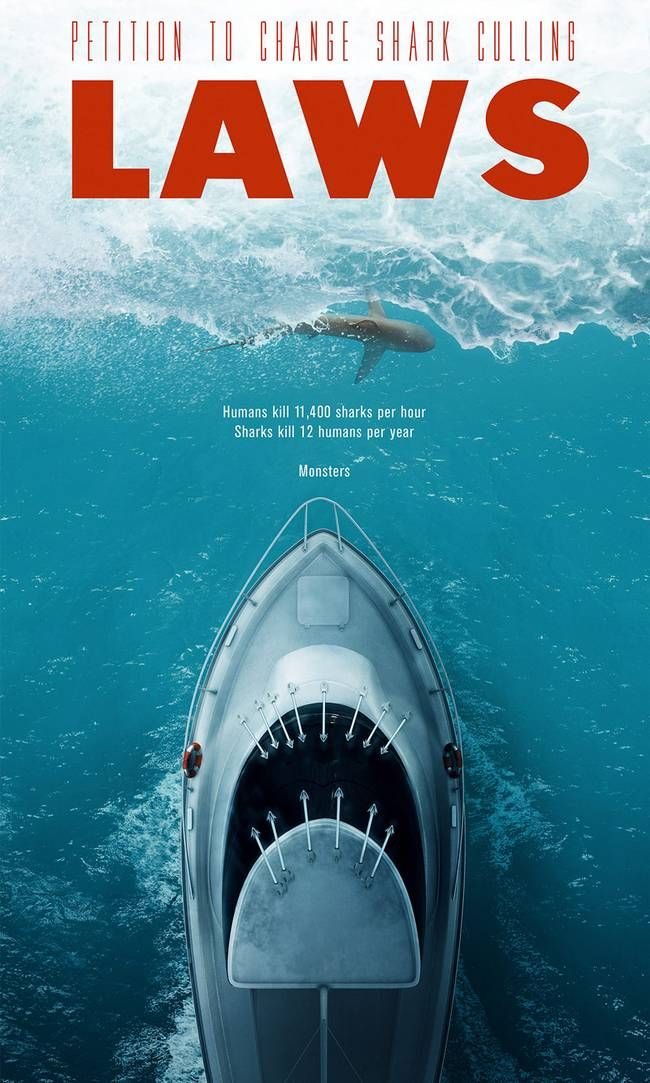 LAWS: Clever shark conservation poster turns the tables on iconic Spielberg film