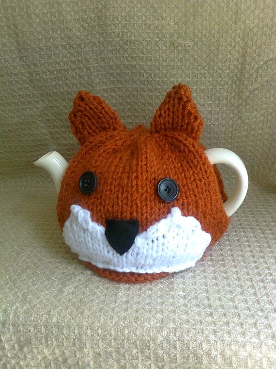 Mr Fox Hand Knitted Tea Cosy by Biskettblue on Etsy, £8.00