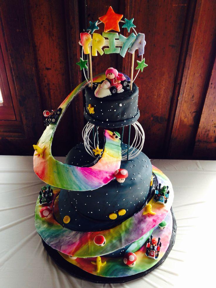 Mario Kart Rainbow Road Cake Rainbow Marbled Cake Inside