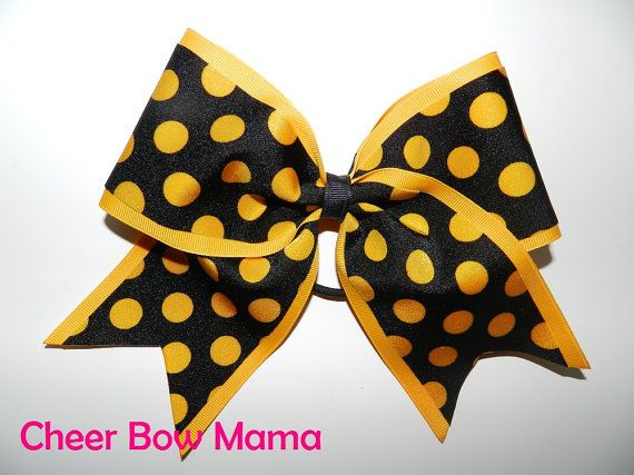 Black & Yellow Gold Polka Dot Cheer Bow by Cheer Bow Mama