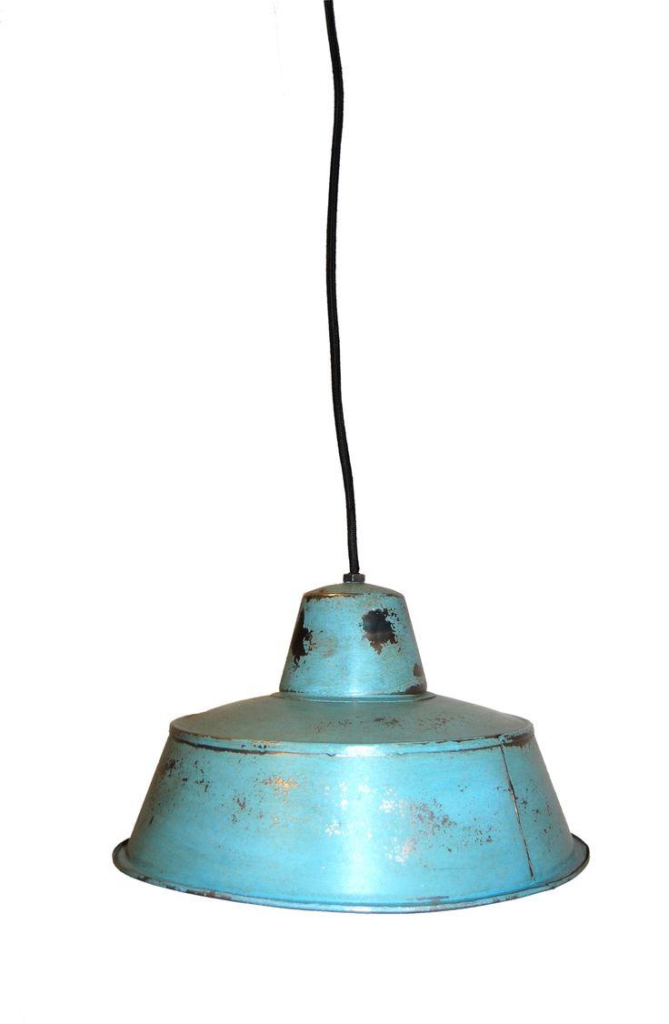 Závěsná vintage lampa - modrá s patinou - 19x31 cm, cena 2.300 Kč