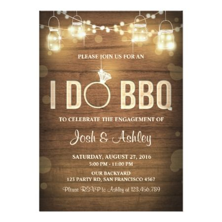 I Do BBQ Engagement Party Couples shower Rustic Card - click/tap to personalize and buy