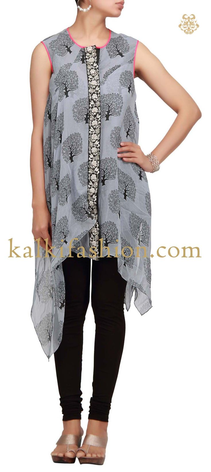 Buy it now http://www.kalkifashion.com/grey-kurti-with-print-and-embroidered-placket.html Grey kurti with print and embroidered placket
