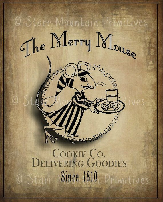 Primitive Christmas Merry Mouse Feedsack Pantry Label Logo Jpeg Image Great for Pillows Labels Hang tags Magnets Ornies