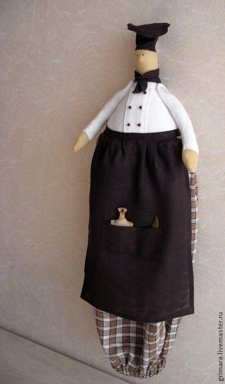 Купить Тильда-пакетница шеф-повар Эндрю - коричневый, повар, пакетница, кухня, Декор