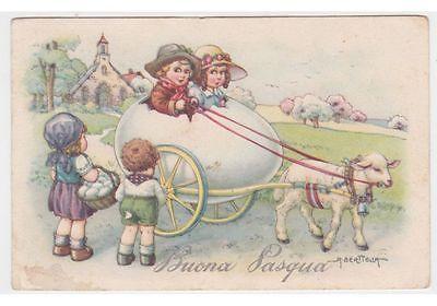 1941 BERTIGLIA Cartolina fp NMM Pasqua bambini carro uovo agnello campana chiesa