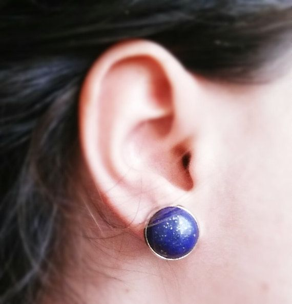 Lapis Lazuli Earrings Blue earrings Stud earrings by CatiShop