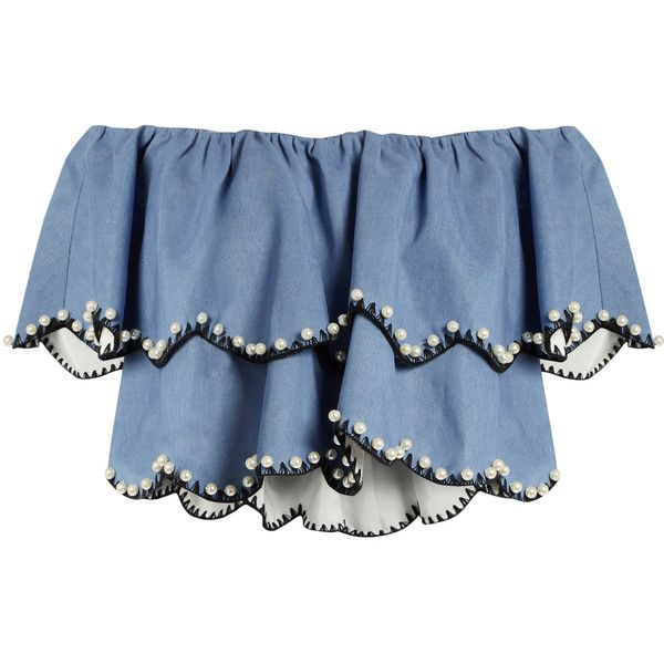 Huishan Zhang Angelica off-the shoulder embellished bandeau top found on Polyvore featuring tops, crop, light blue, blue off shoulder top, bandeau bikini tops, tiered top, scallop edge top and bandeau tops