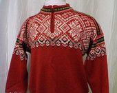 Vintage Dale of Norway, 1998 Olympics Sweater, Nagano Olympics, (Men's Large), Red, Snowflake, Norwegian Sweater, Ski Sweater, Like New