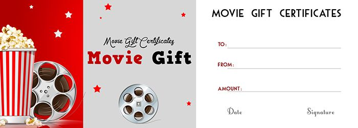movie gift certificates template
