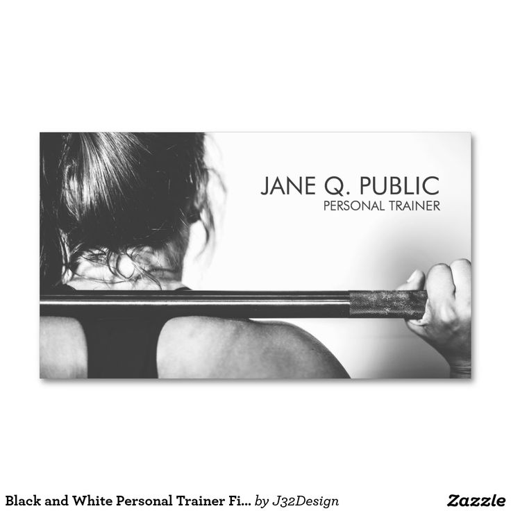 Black and White Personal Trainer Fitness Training Double-Sided Standard Business…