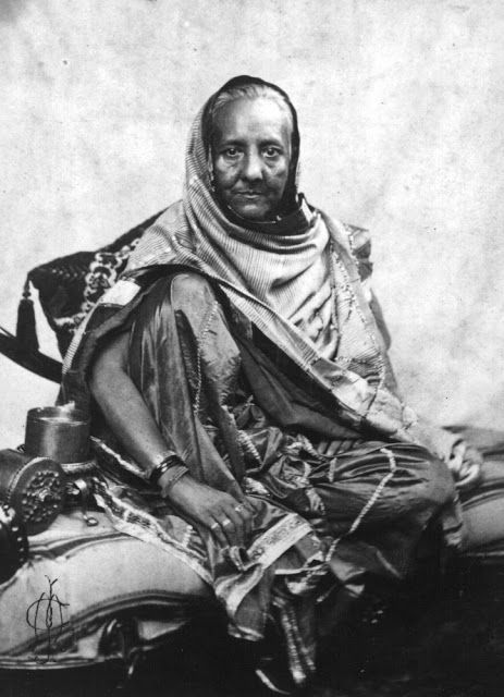 Rare Photos Of Indian Mutiny / Uprising Of 1857. Begum Zeenat Mahal, Wife of last Mughal Emperor Bahadur Shah Zafar exiled to Rangoon after the mutiny. This is one and only portrait or photograph of any Mughal Emperess. After their victory the British captured Delhi and last Mughal Emperor Bahadur Shah Jafar along with his family surrendered to them, this photo was taken at that time. The Badshah spend the last years of his life in exile in Rangoon.