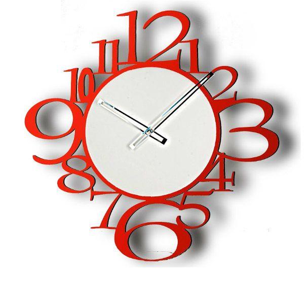 Orologio in Metallo da Parete colore Rosso. Moderno e di Design.