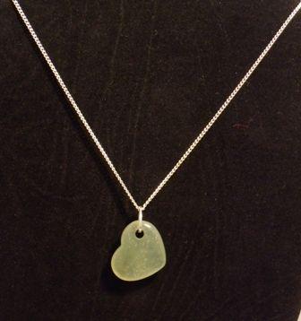 Jade Heart necklace. Genuine gemstone