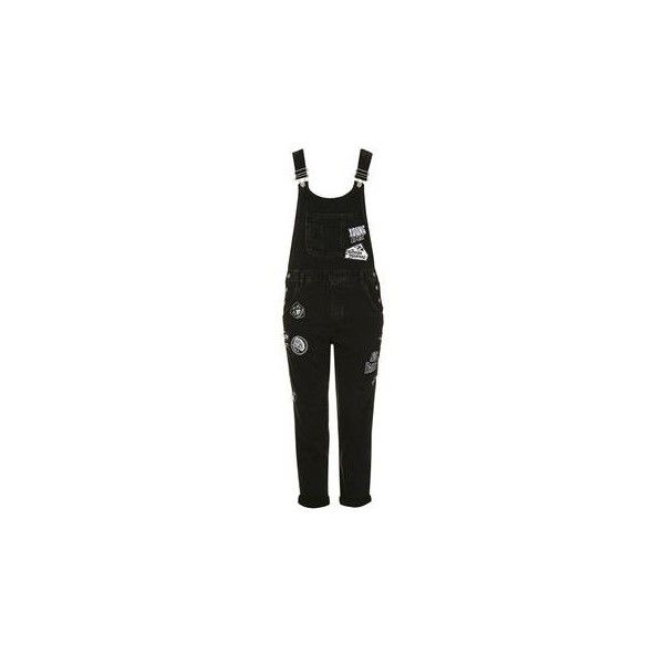 TopShop Moto Badged Long Dungarees (52 CAD) ❤ liked on Polyvore featuring jumpsuits, topshop jumpsuit, cotton jumpsuit and long jumpsuits
