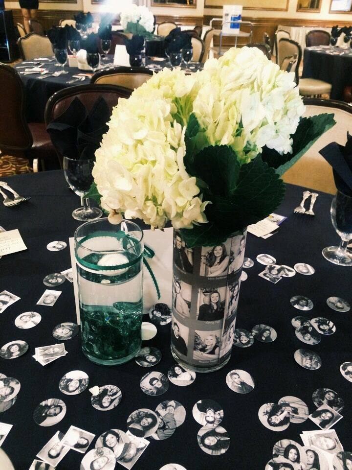 Centerpieces for high school reunion.