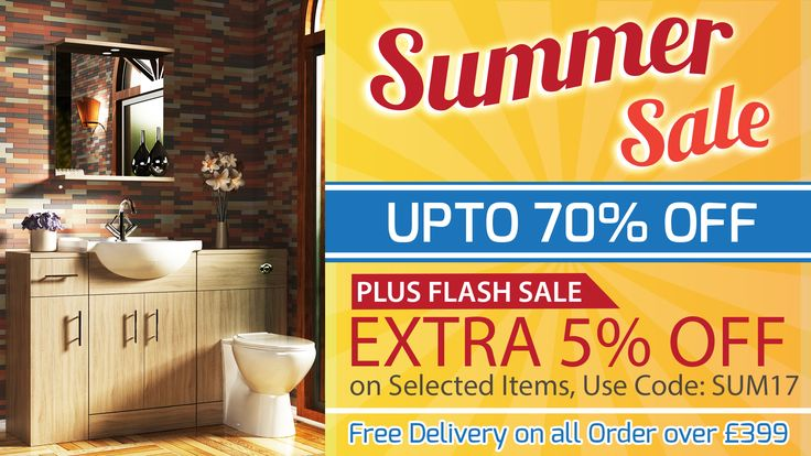 Latest offers on Summer Sale on selected items at Royal Bathrooms. Plus, Flash Sale Extra 5% off on selected items use code: SUM17. Also 5% off on Furniture Use Code: FUR5 - Free Delivery on all order over £399. Next day delivery available using our Express Delivery Service. Have confidence when buying bathrooms online with 365-day returns policy.  #BathroomSale #BathroomSummerSaleUk #BathroomSummerSale #BathroomSuites #ShowerEnclosures #BathroomFurniture #BathroomTaps #BathroomHeating…