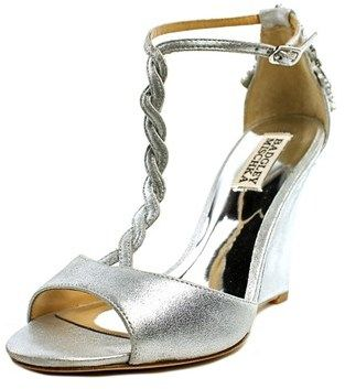 Badgley Mischka Camryn Ii Women Open Toe Leather Silver Wedge Heel.