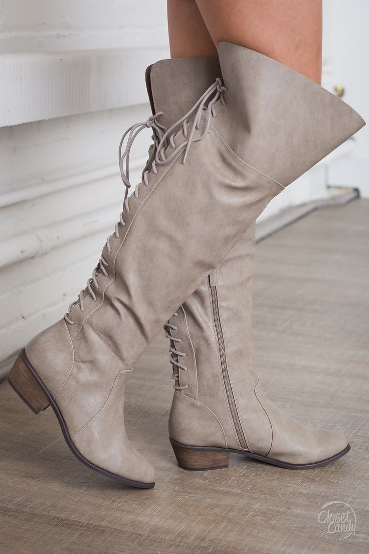 Night Owl Lace-Up Rider Boots - Beige