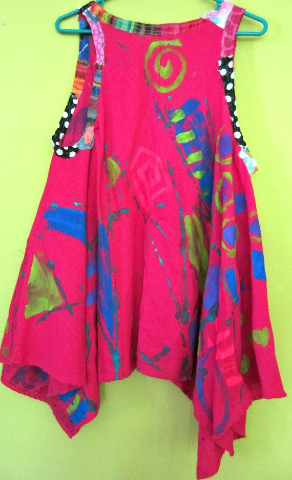 Fuschia Linen hand painted Upcycled Tunic fits L to by monapaints, $229.00