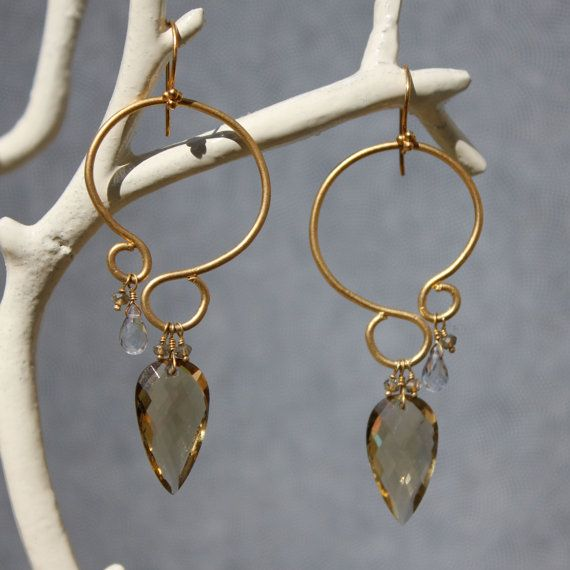 chandelier earrings in 18k gold vermeil with champagne quartz and grey topaz