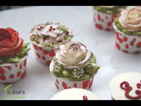 100 buttercream flower cakes #1: How to pipe Purple fringe rose and Decorate buttercream flower cupcake - Step by step and simple - CakesDecor