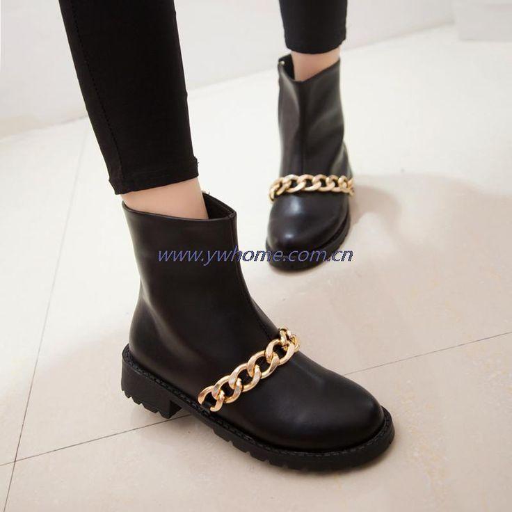 Новая коллекция весна и осень обувь ботинки женщин свободного покроя лодыжки сапоги искусственная кожа мартин сапоги металлическая цепь XM015 купить на AliExpress