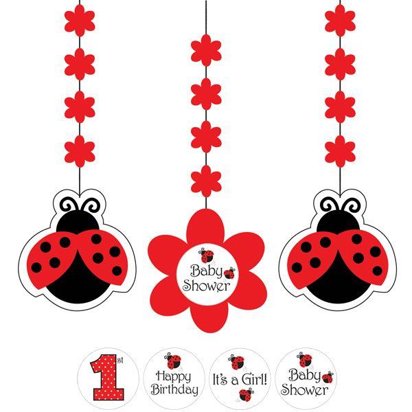 ladybug baby shower dangling cutouts 3