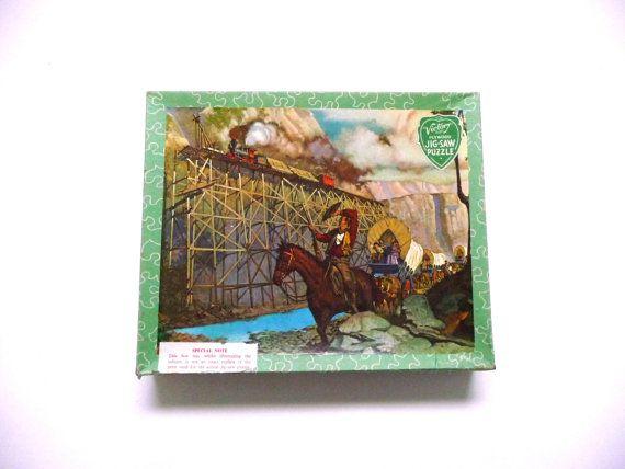 Vintage Jigsaw Puzzle Victory Wooden Railway Train Westworld