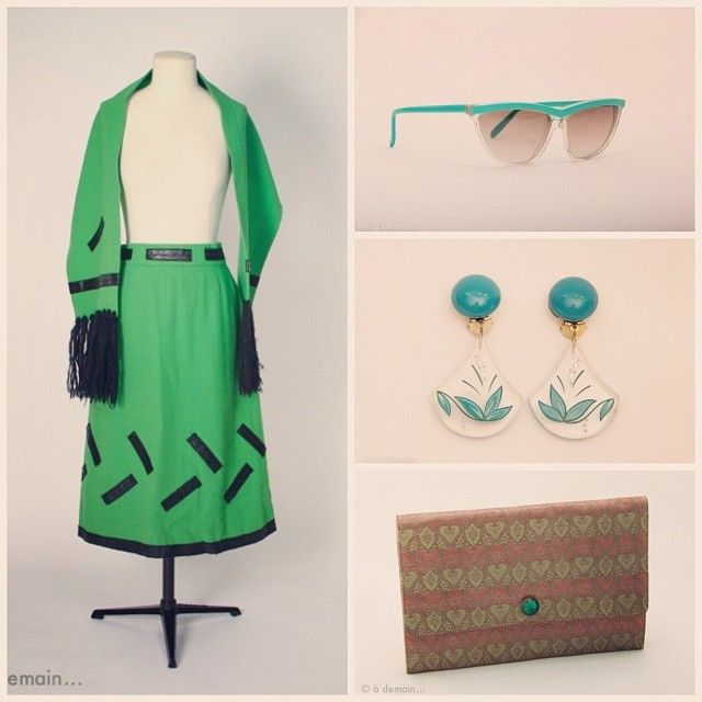 Green is fashion!  Let's see what we got for you ladies: a French seventies set with a skirt and a scarf by Lola Prusac ; 1980s earring by Elenka and sunglasses by LEM ; 1970s damask silk handbag... And so many other vintage items!  All available on www.design-only.com