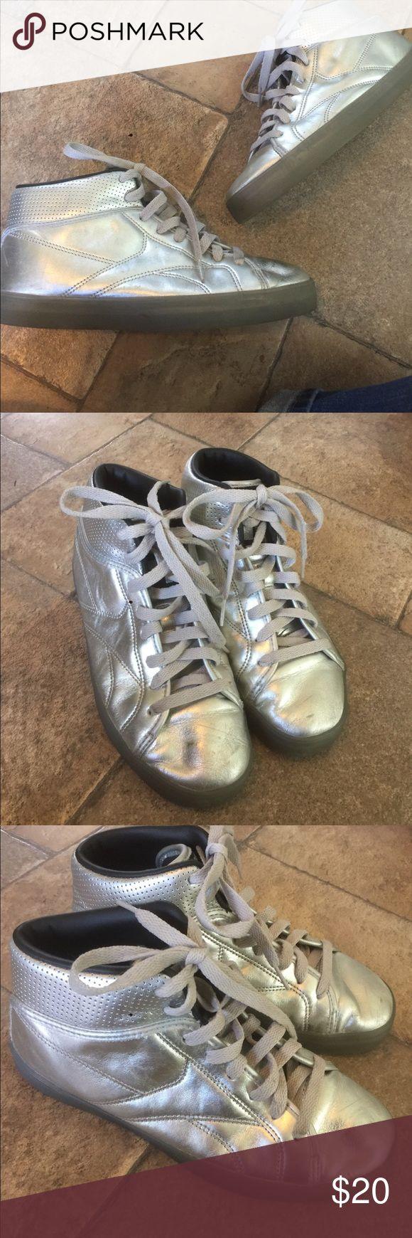 Silver T-Raww Reebok Sneakers Nice pre owed condition. Reebok Shoes Sneakers