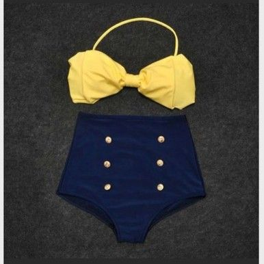 Vintage Retro Pin Up High Waisted Bikini Bow Top +Bottom Swimsuit Blue Yellow