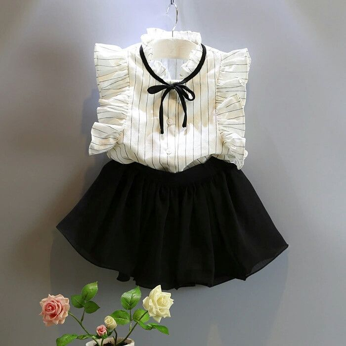 Black and White Stripes Girl Set