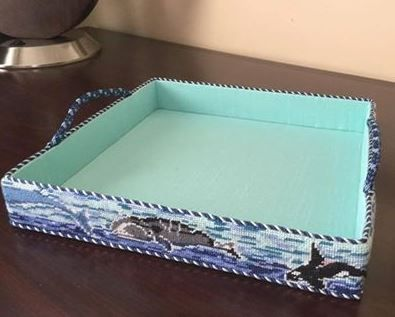 Belt as a needlepoint tray, now THAT is cool!