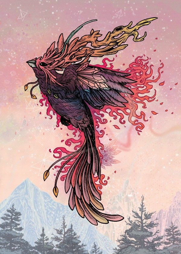"""Phoenix"" metal poster by Mat Miller #animal"